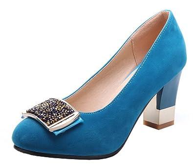 Damen Rund Zehe Hoher Absatz Schnalle Rein Pumps Schuhe, Blau, 33 AgooLar
