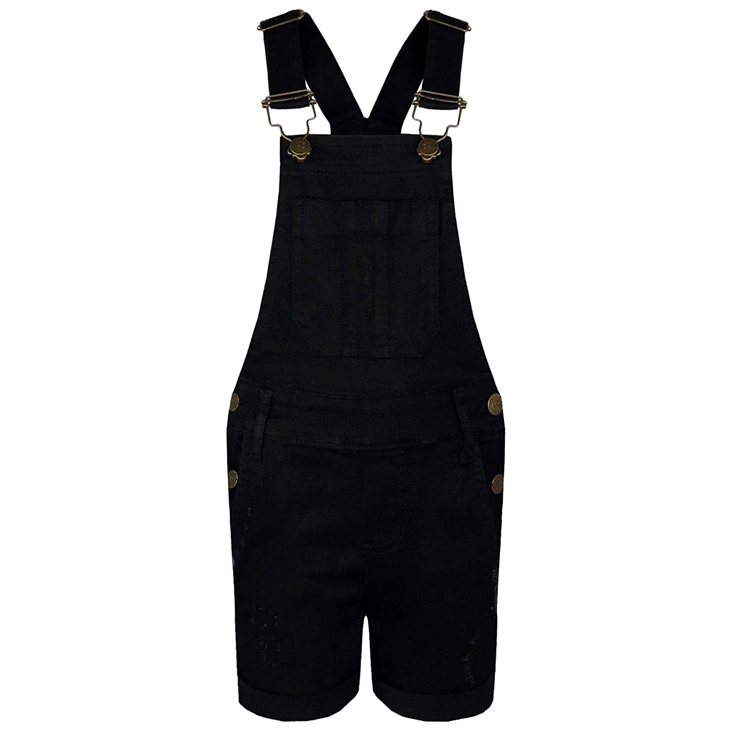 A2Z 4 Kids/® Kids Girls Dungaree Shorts Designers Denim Ripped Stretch Jeans Overall All in One Jumpsuit Playsuit Age 5 6 7 8 9 10 11 12 13 Years