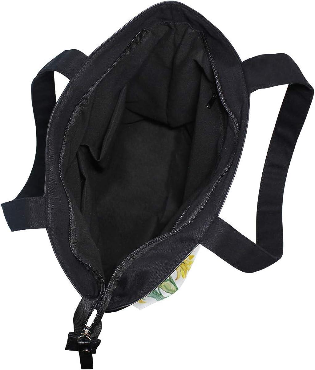 Women Large Tote Top Handle Shoulder Bags Sunflowers Watercolor Satchel Handbag