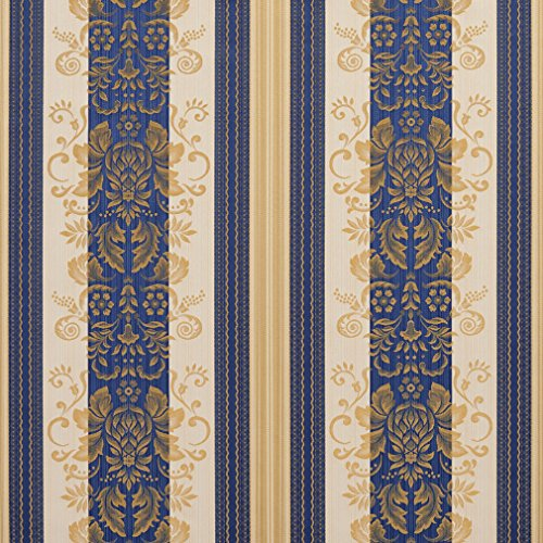 Vintage Dark Blue Gold Yellow Foliage Heirloom Stripe Damask Jacquard Upholstery Fabric by the yard (Dark Blue Cotton Upholstery)