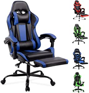 ALFORDSON Gaming Chair Racing Chair Executive Sport Office Chair with Footrest PU Leather Armrest Headrest Home Chair (Blue)