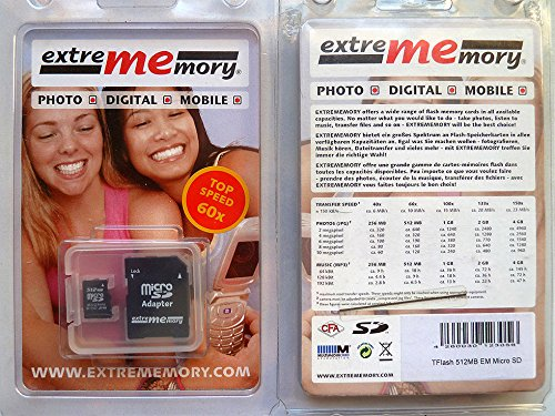 Extrememory MicroSD Card 512MB Memoria Flash 0,5 GB - Tarjeta de Memoria (0,5 GB, MicroSD, 9,4 MB/s, 3 MB/s)