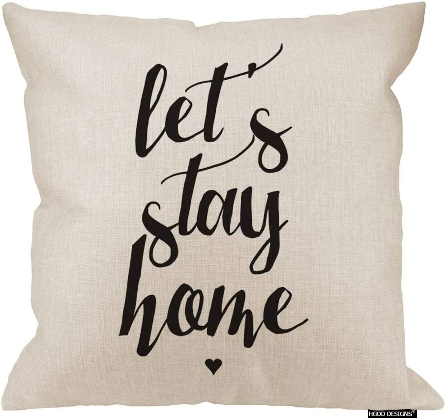HGOD DESIGNS 18X18 Let's Stay Home Throw Pillow Cover Pillow Cases Decorative Square Cushion Cover Cotton Linen