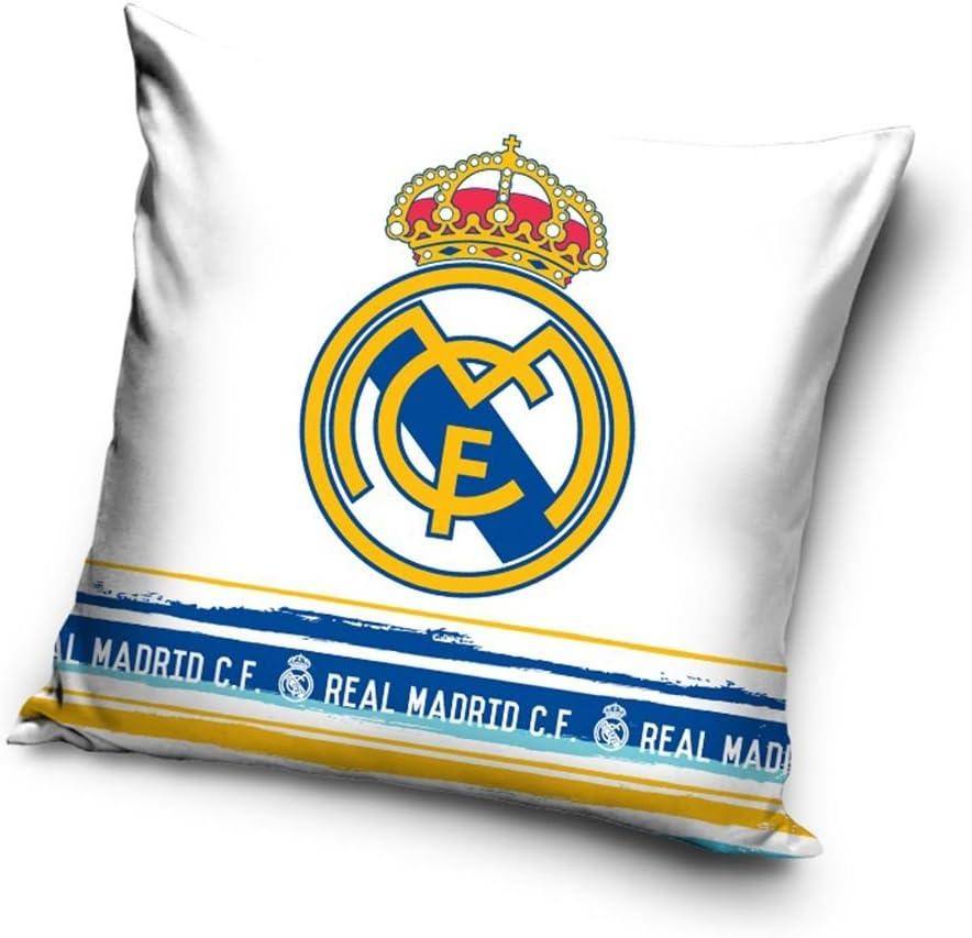 Real Madrid CF Cojín Relleno, color blanco: Amazon.es: Hogar