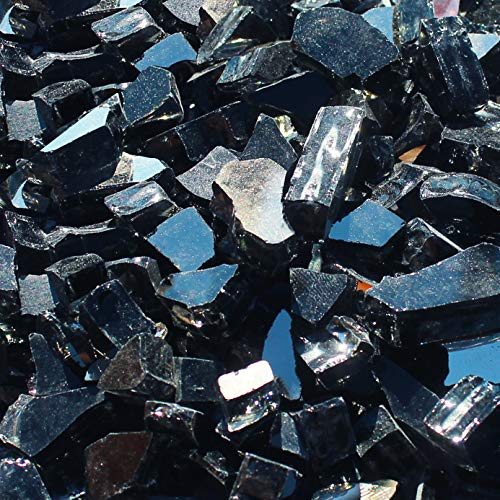 Blue Ridge Brand&Trade; Black Reflective Fire Glass - 50-Pound Professional Grade Fire Pit Glass - 1/2