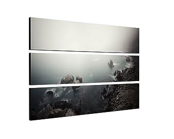 Fremde Welten 140x100 cm - 3teiliges Bild Meer schwarz weiß graugrün ...
