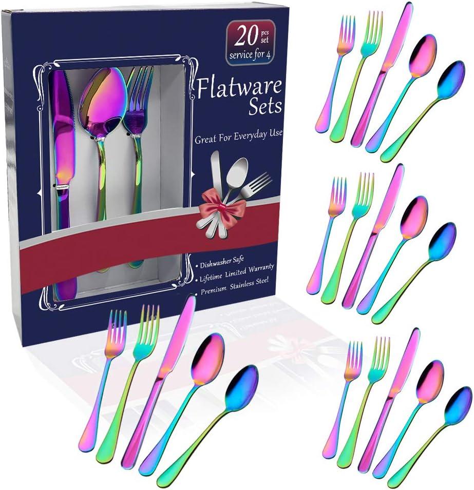 Rainbow Flatware Set Colorful Stainless Steel Silverware Dinnerware Set, Colored Tableware Set for 4, 20-piece flatware Set Service for 4, Include Knife/Fork/Spoon/Teaspoon/Fruit fork (rainbow 20 piec
