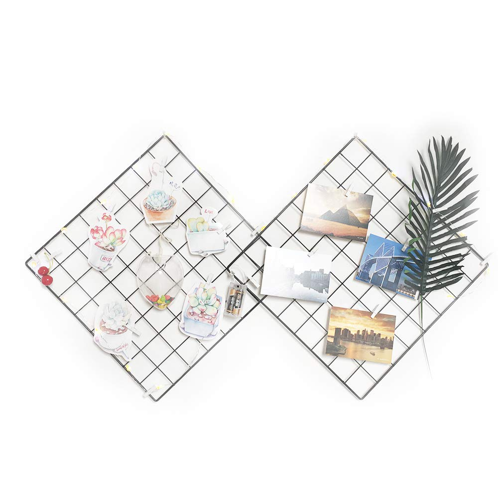 Multifunction Wire Grid Panel, ANZOME Photo jewelry Plant Art Display Mesh Wall Decor Collage Artworks Picture Frames Wall Dorm Bedroom Apartment Christmas Jewelry Plant Decoration, 2Pcs/Set KP-HM050*2-N