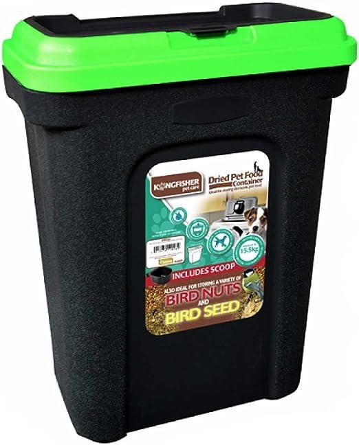 30L seco de depósito de almacenamiento de comida para mascotas gato perro Alimentos Frescos semillas para aves Caja Papelera tapa flip top cierre con pala fisuras.: Amazon.es: Productos para mascotas