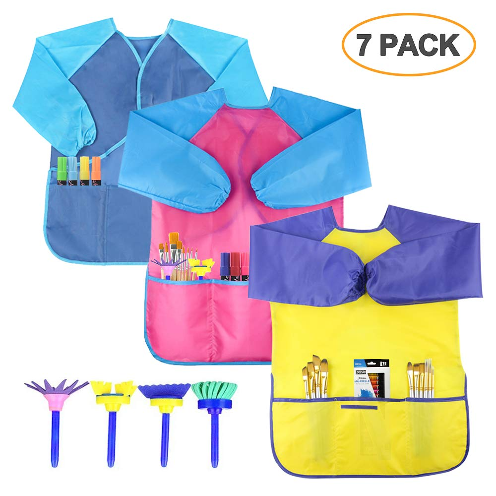 SIMPZIA 3 Pack Kids Art Smock Children Waterproof Artist Painting Aprons with 4 Paint Brushes for Art Craft Cooking Lab Activity Ages 2-6 Simmper