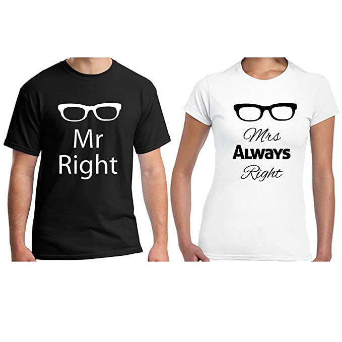 397410912 Baranovo Custom Mr Right Mrs Always Right Glasses Cotton Matching Couple T  Shirts Man Black Woman