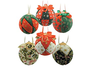 6 christmas fabric covered baubles craft kit adults christmas craft kits