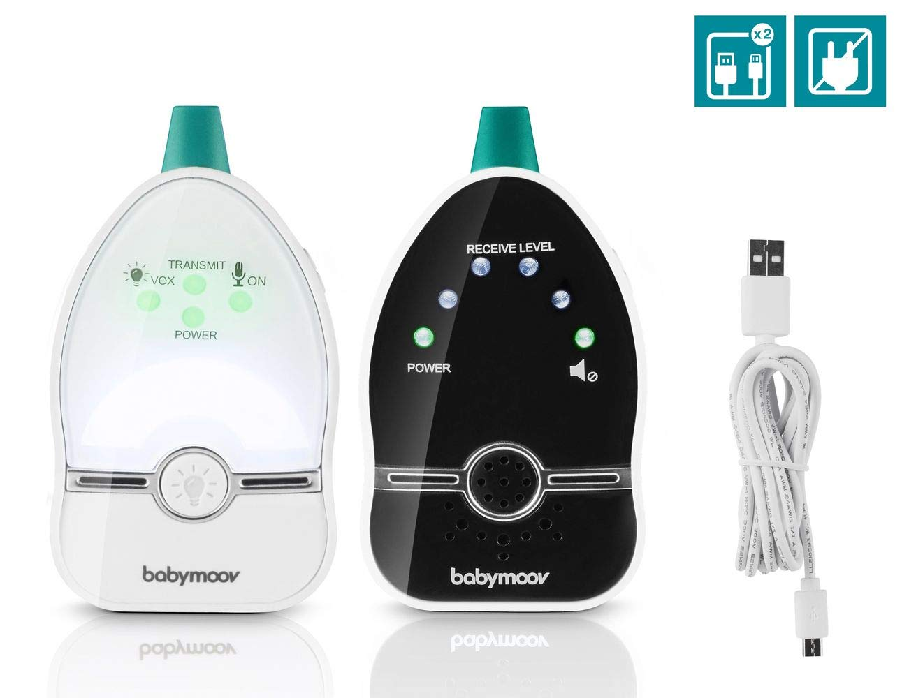 Babymoov Easy Care Babyphone Audio avec Vox Veilleuse et Double Alarmes Port/ée 500 m