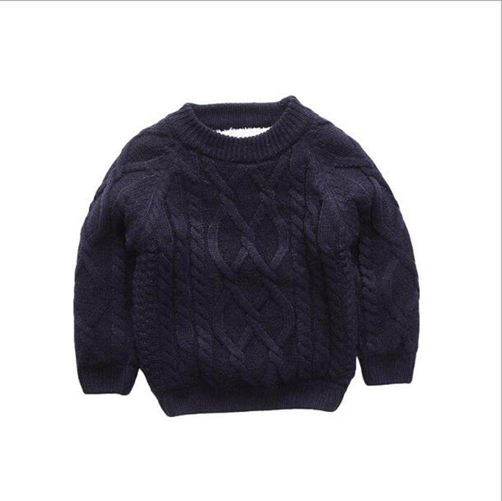 HEMAY Baby Boy Fur Lining Knitted Sweaters Winter Warm Pullovers for Kids