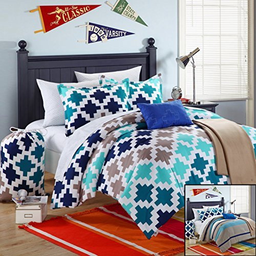 Chic Home 8-Piece Byte Comforter Set with Shams Decorative Pillows and Sheet Set, Twin