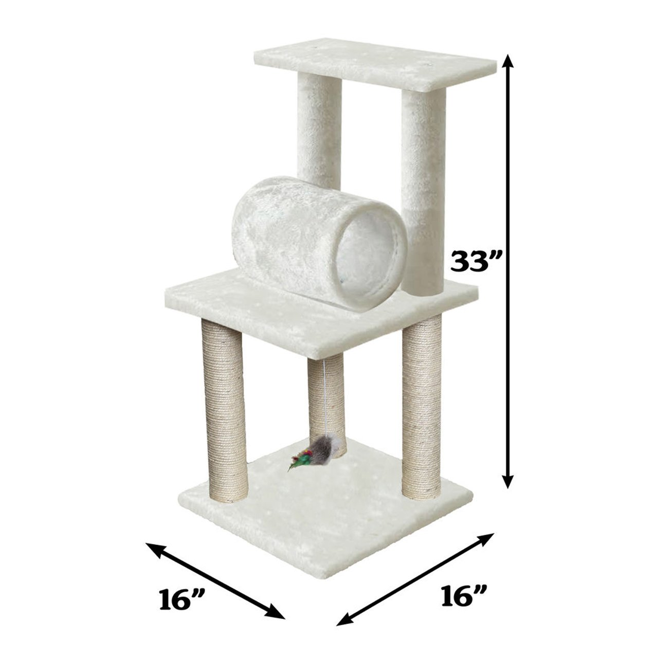 33 White Pet Cat Tree Play Tower Bed Furniture Scratch Post Tunnel Top Mouse toy notch by Unbranded by na (Image #2)