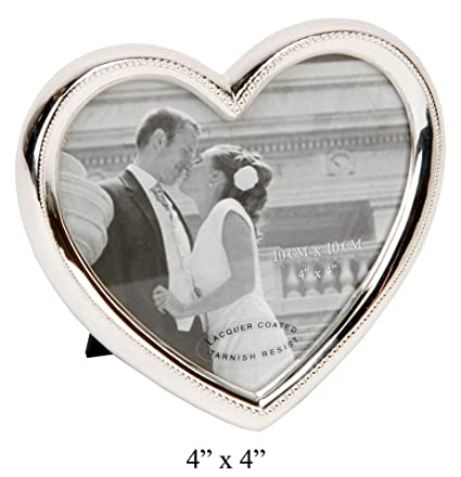 Amazon.com: Elegant Silver Plated Heart Shaped Photo Frame By Haysom ...