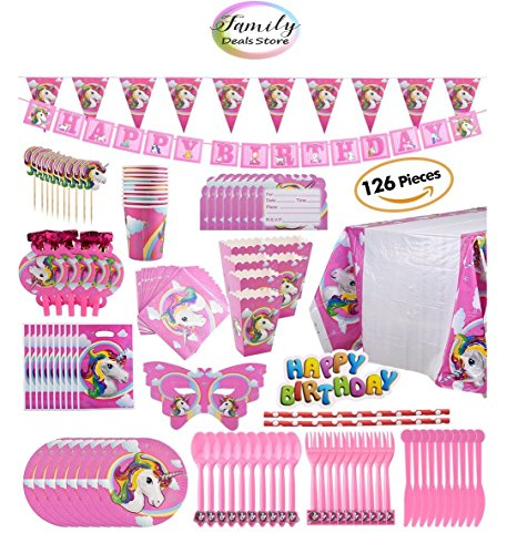Family Deals Store Unicorn Party Pack Decorations Supplies 126 Piece Children Rainbow Butterfly Mask Name Tag Table Cloth Happy Birthday Hanging Banner Cupcake Topper Cutlery Napkins (Rainbow Butterfly Party Mask)