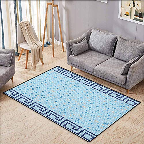 (Kids Rug,Aqua,Antique Greek Border Mosaic Tile Squares Abstract Swimming Pool Design,Anti-Static, Water-Repellent Rugs,4'11