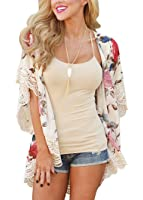 PRETTODAY Women's Floral Print Kimono Lace Loose Tops Sleeves Cover Up Chiffon Blouse