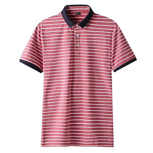 KMAZN メンズ ポロシャツ フェイクレイヤード 襟付き 半袖 Tシャツ カットソー ニット Vネック ゴルフウェア スポーツ カジュアルウェア 春 夏 秋