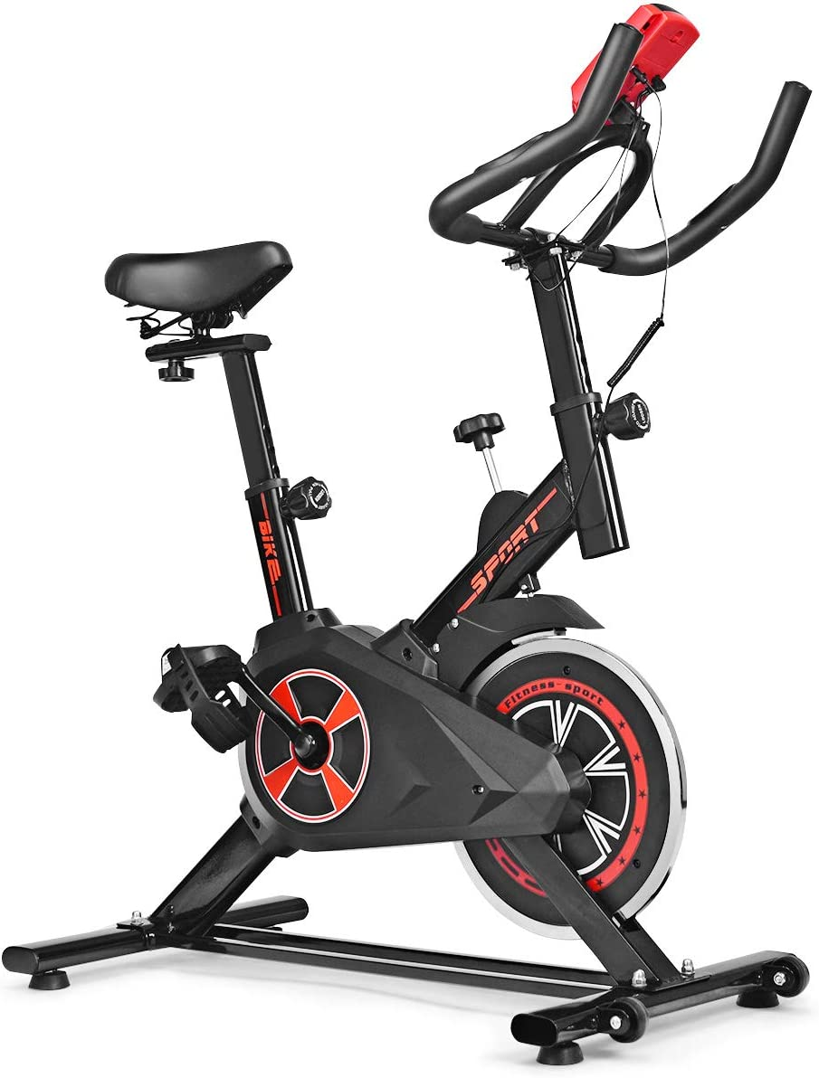 Silent Belt Adjustable Exercise Bike GYMAX Indoor Cycling Spinning Aerobic Bike with Heart Rate Sensors LCD Display 5-Position Seat and Handlebars for Home Cardio Gym Workout