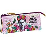 """Frida Kahlo - Triple Pencils Case - Pencils Holder - Three Zippers - 8.7""""x1.18""""x3.94"""" - Great Quality - White & Rose"""