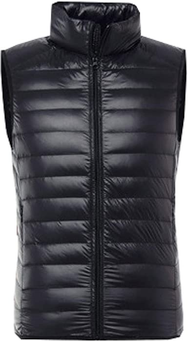 Mens Duck Down Gilets Body Warmer Casual Cotton Quilted Vest Lightweight Winter Outdoor Waistcoats Stand Collar Sleeveless Down Jacket