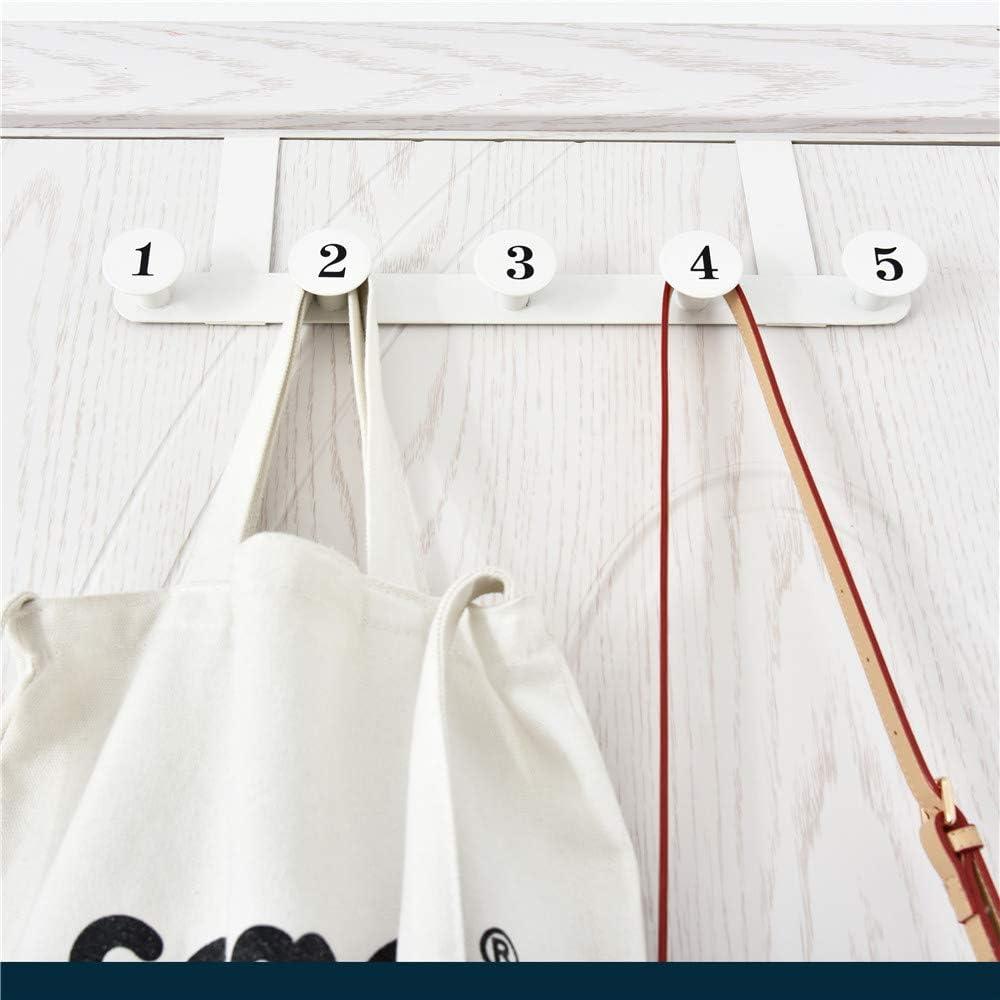 Blanco 5 Ahorro De Espacio sobre Colgadores De Puertas Capacidad De Carga Fuerte Ganchos De Abrigo Colgantes para Puertas Detr/ás De Las Salas De Estar Cocinas