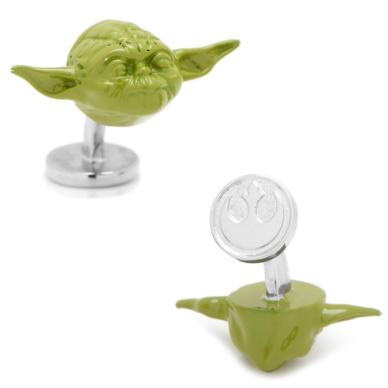 Star Wars 3D Green Yoda Head Cufflinks, Officially Licensed