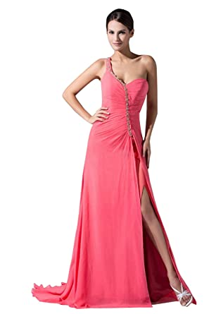 Xiangyun Womens One Shoulder Beading Chiffon Formal Evening Prom Dress Pink ...