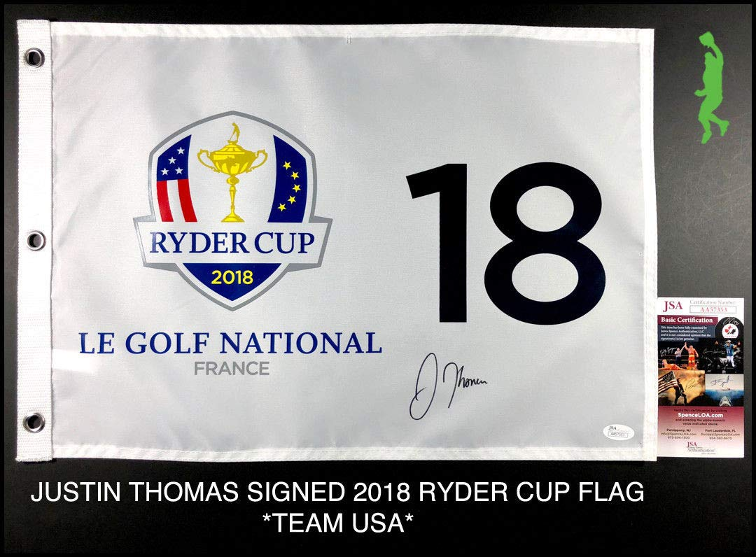 Justin Thomas Autographed Signed 2018 Ryder Cup Pin Flag Team Usa Pga JSA Authentic