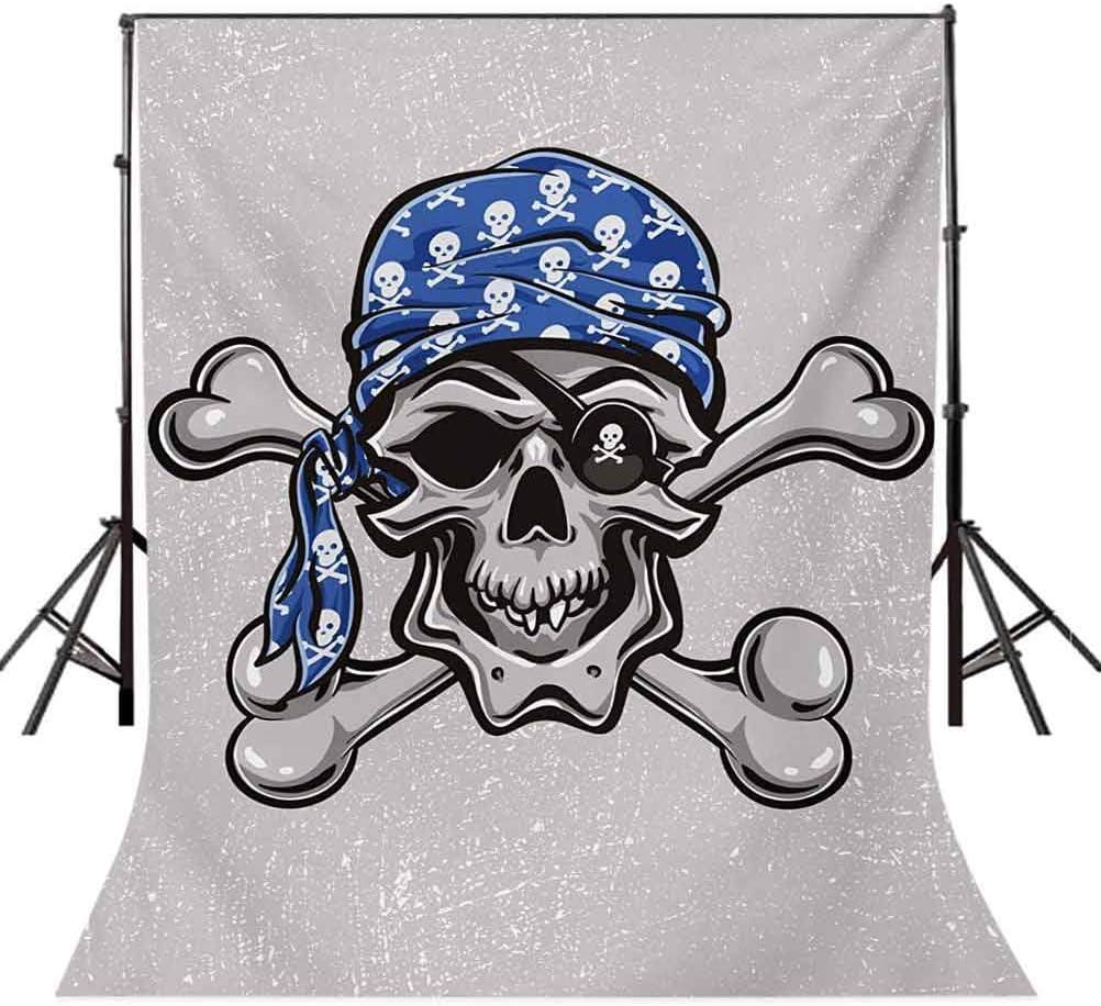 Skull 10x15 FT Photo Backdrops,Scallywag Pirate Dead Head Grunge Horror Icon Evil Sailor Crossed Bones Kerchief Background for Child Baby Shower Photo Vinyl Studio Prop Photobooth Photoshoot