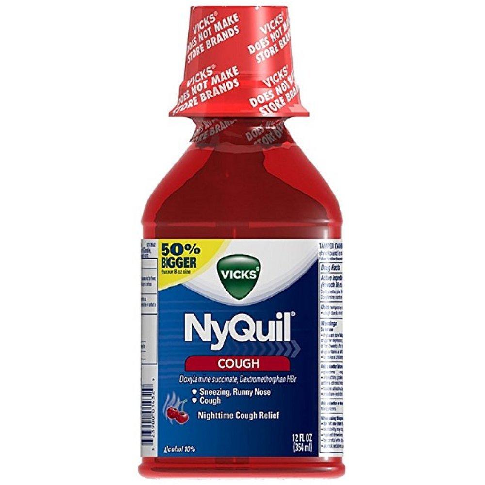 Vicks Nyquil Nighttime Cough Relief Liquid, Cherry 12 oz (Pack of 2)