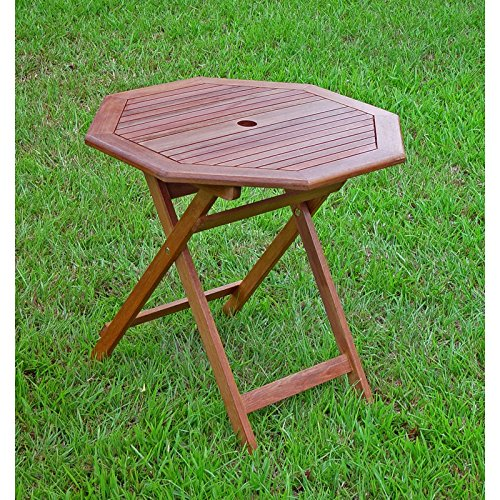 International Caravan Highland Acacia 30 in. Folding Patio Dining Table