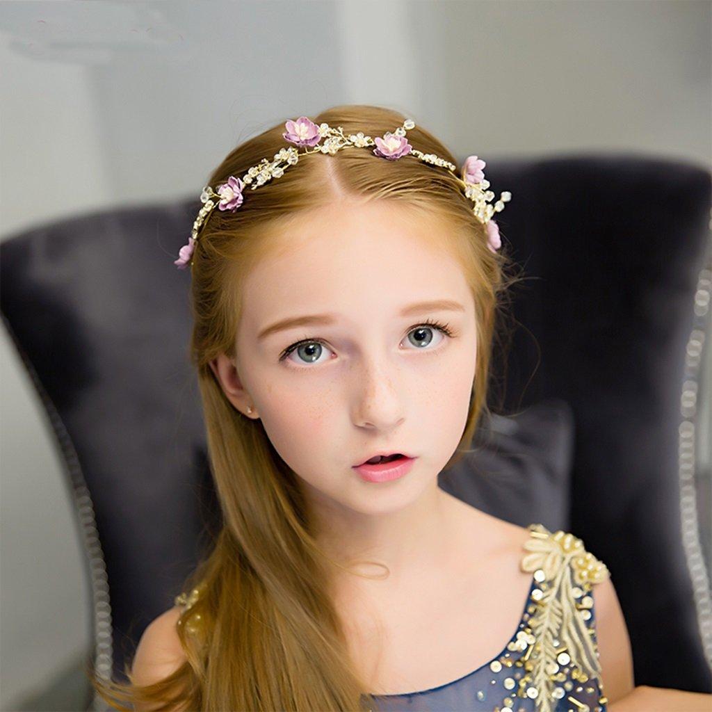 Wreath Flower, Girl Hair Ornaments Headband Accessories Child Princess Headdress (Color : Gold)