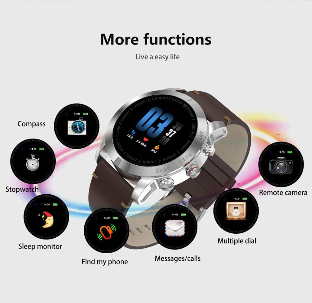 YHDQ Bracelet intelligent compteur de calories, moniteur de fréquence cardiaque et rappels IP68 étanche, multisport Noir