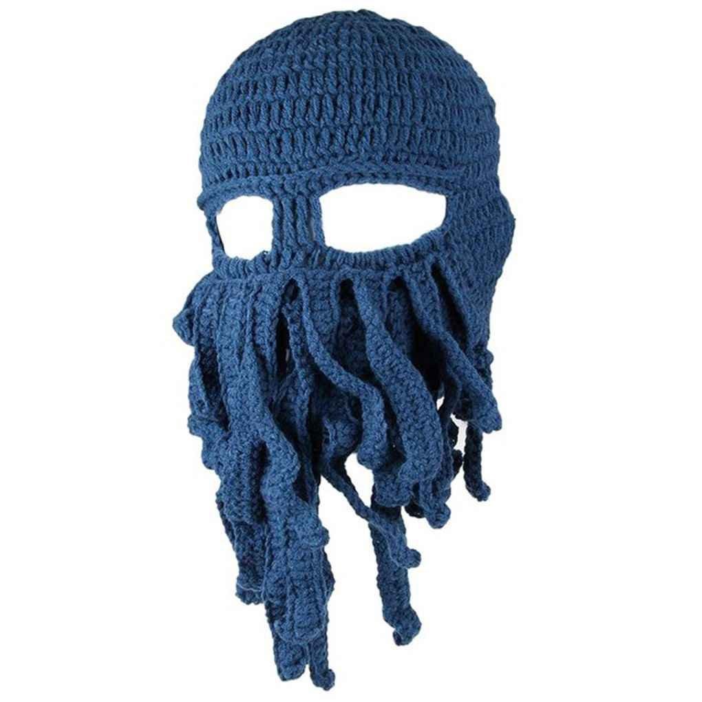 Miaomiaogo Hiver créatif chaud unisexe tentacule octopus tricot bonnet chapeau Cap vent ski masque