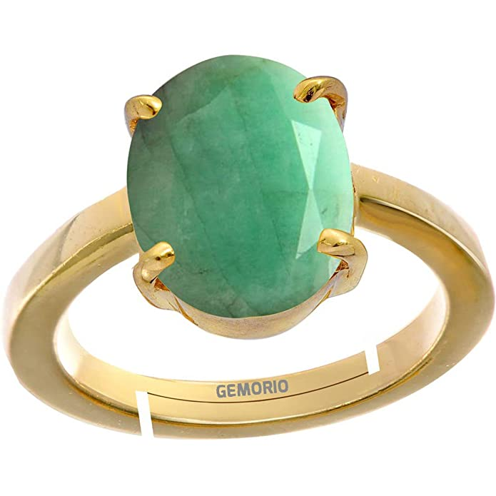 CLARA Certified Emerald Panna 4.8cts or 5.25ratti original stone Sterling Silver Astrological Ring for Men and Women
