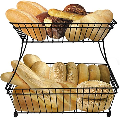 Sorbus Bread Basket, 2-Tier Flat-Back Metal Countertop Fruit & Vegetable Rack, Great for Bread, Snacks, Household Items, Kitchen Storage and More, Antique Style (Black) (Metal Fruit Basket Stand)