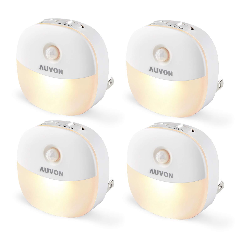 AUVON Plug-in LED Motion Sensor Night Light, Mini Warm White LED Nightlight with Dusk to Dawn Sensor, Motion Sensor, Adjustable Brightness for Bedroom, Bathroom, Kitchen, Hallway, Stairs (4 Pack)