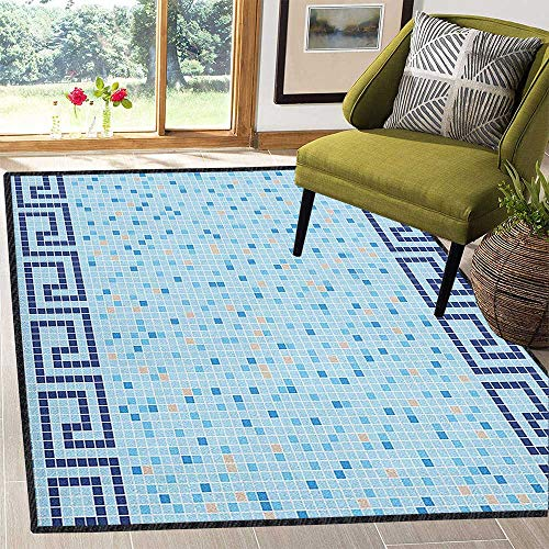 Aqua Natural Fiber Area Rug,Antique Greek Border Mosaic Tile Squares Abstract Swimming Pool Design Stain Resistant & Easy to Clean Pale Blue Navy Blue Beige 59