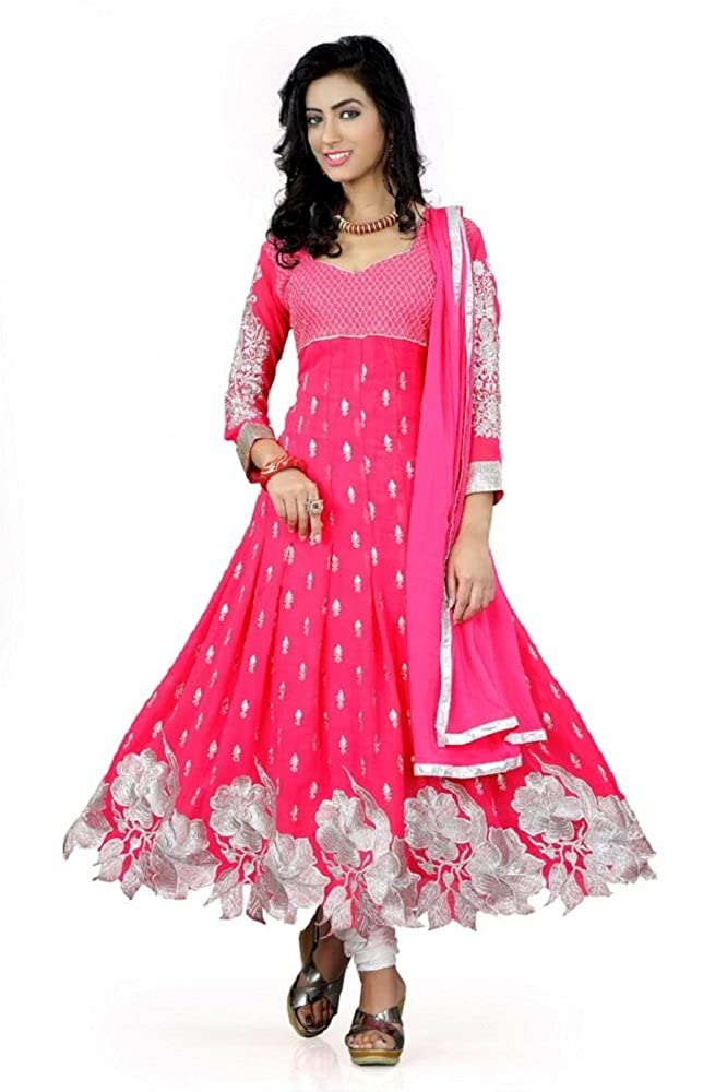 Prabhuta Enterprise Women's Georgette Semi-Stitched Dress Material (Pink_Free Size)