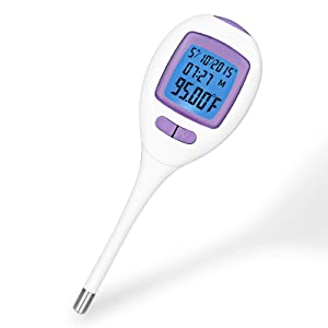 Digital Basal Thermometer for Ovulation Tracking, +/-0.09F Accuracy,60 Days of Memory for Easily Tracking Ovulation, Alarm Clock Alert, Switchable Celsius/Fahrenheit