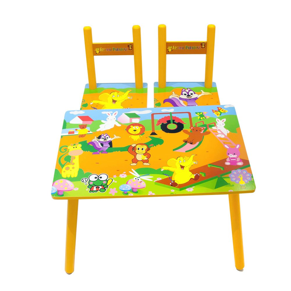 Children Kids Wooden Table and 2 Chairs Set Yellow Zoo Animals Design just4baby