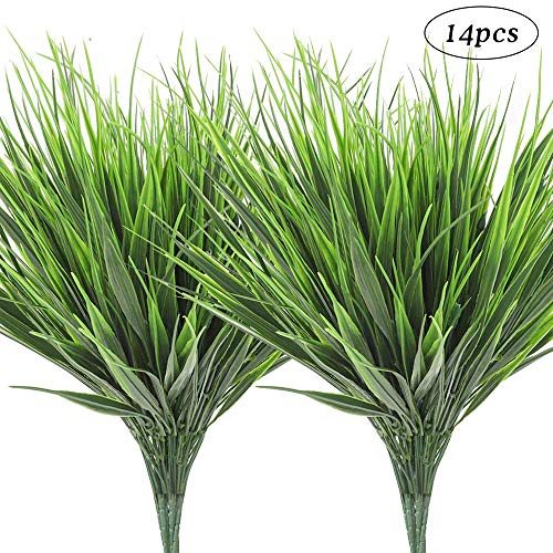 AGEOMET 14pcs Artificial Plants Fake Plastic Greenery Shrub Bushes UV Resistant Plants Plastic Wheat Grass for Indoor Outdoor Home Garden Decoration