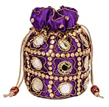 Traditional Satin Potli Bag with Round Mirror for Women & Girls - (Purple)