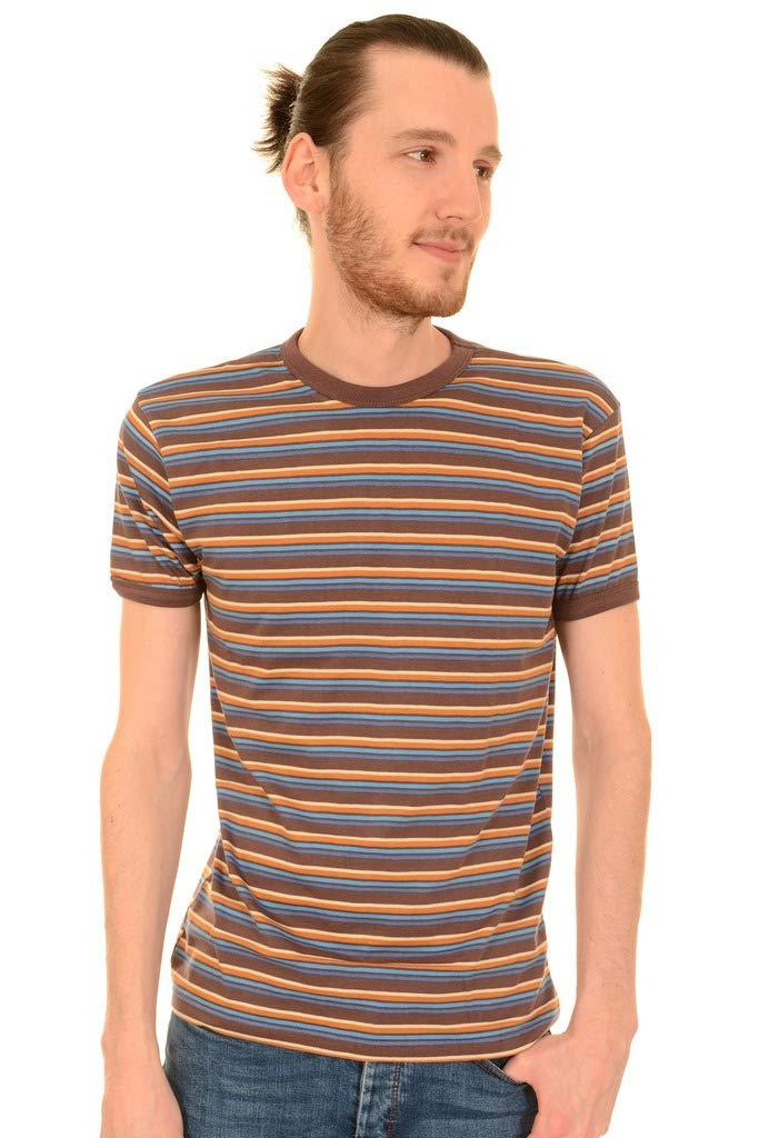1960s -1970s Men's Clothing Run & Fly Mens 60s Indie Brown Retro Stripe Retro T Shirt AUD 32.88 AT vintagedancer.com