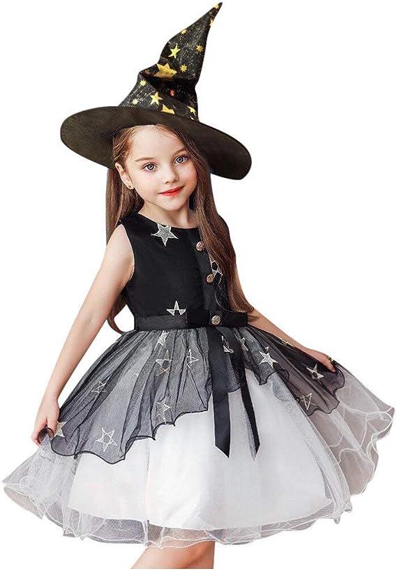 POLP Halloween Vestidos de Princesa Niña Cosplay Bruja Halloween ...