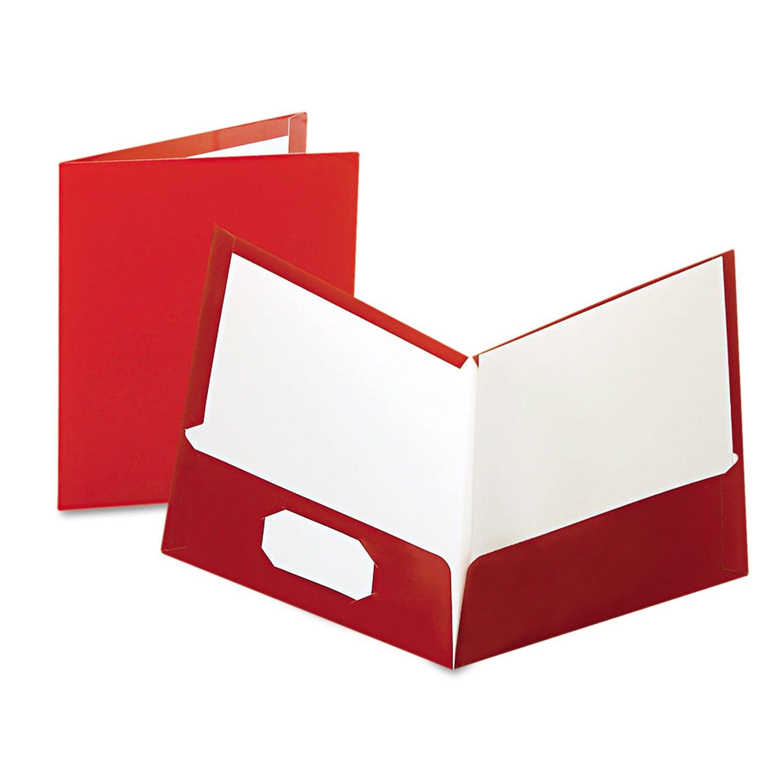 Oxford 51718 Laminated Portfolio, 2-Pocket, LTR, 100 Sht Cap, 25/BX, CRN